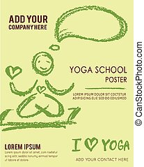 Vector Poster Template with chalks. Abstract Yoga Background.