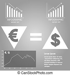Infographics exchange rate of euro and dollar, vector -...