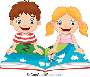 Cartoon boy and girl were readings - Vector illustration of...