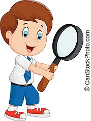 Boy cartoon holding a magnifier - Vector illustration of Boy...