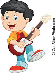 Cartoon child play a guitar - Vector illustration of Cartoon...