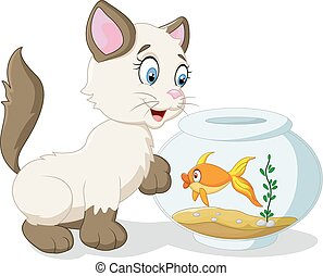 Cartoon cat and fish