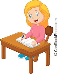Cartoon writing text in the book - Vector illustration of...
