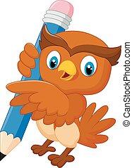 Cartoon owl holdings a pencil