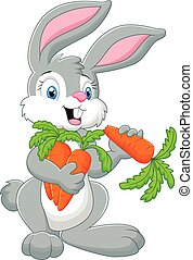 Cartoon rabbit holding a carrot