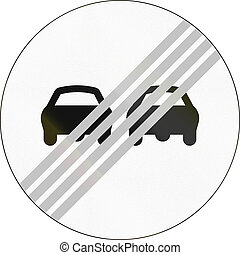 End Of No Overtaking In Greece - Greek traffic sign: End of...