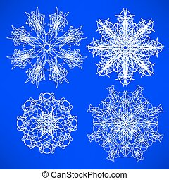 Snow Flakes - Abstract Geometric Snow Flakes Collection...