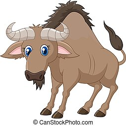 Cartoon of a Wildebeest - Vector illustration of Cartoon of...