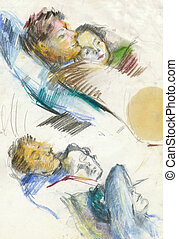 an hand drawn illustration - relaxation - rest, relaxation,...