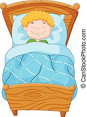 Cartoon little boy fell asleep - Vector illustration of...