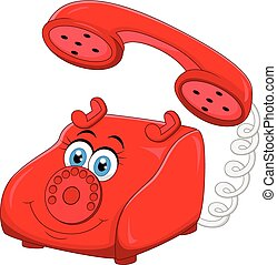 Cartoon Red Old Retro Rotary Teleph - Vector illustration of...