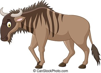 Strong animals wildebeest cartoon - Vector illustration of...