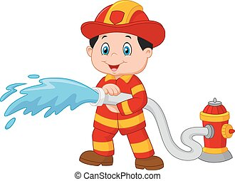 Cartoon Firefighter pours from a fi - Vector illustration of...