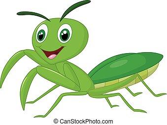 Cartoon praying mantis - Vector illustration of Cartoon...
