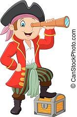 Cartoon pirate looking through bino