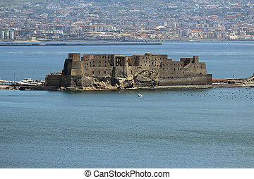 Castel dell Ovo in Naples - Gulf of Naples with the Castel...