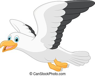 Cartoon smiling seagull - Vector illustration of Cartoon...