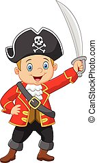 Cartoon captain pirate holding a sw - Vector illustration of...