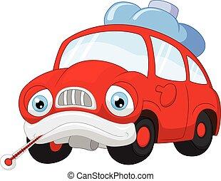 Cartoon car character needing repai - Vector illustration of...