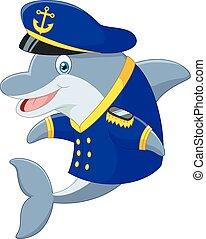 Standing little cartoon Dolphin usi - Vector illustration of...