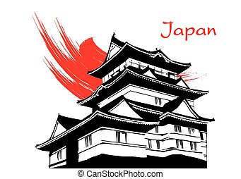 Japanese pagoda painting vector - Japanese pagoda painting...