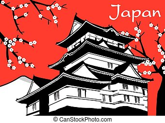 Japanese pagoda sakura flower painting on red background...