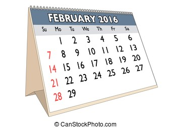 February 2016 - February month in a year 2016 calendar in...