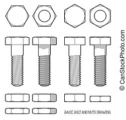 Hexagonal bolt and nuts in orthogonal projection
