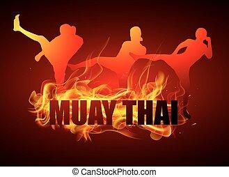 kicking thai boxing postures fire - kicking thai boxing...