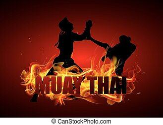 Thai boxing in postures fighting on fire vector background