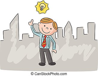 Cartoon man with idea light bulb ov - Vector illustration of...
