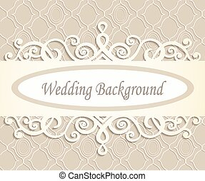 cream wedding background with a retro  pattern in beige