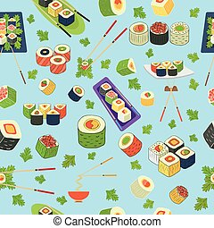 sushi pattern - Pattern of sushi on a plate with...