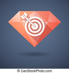 Diamond icon with a dart board - Illustration of a diamond...