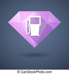 Diamond icon with a gas station - Illustration of a diamond...
