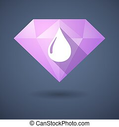 Diamond icon with a fuel drop - Illustration of a diamond...
