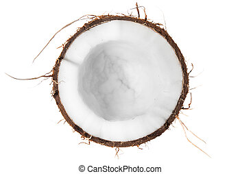 Half of coconut top view isolated on white background