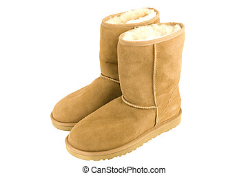 Womens Sheepskin boots isolated on white
