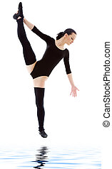 fitness instructor in black leotard over white