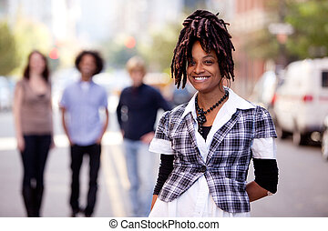 Pretty Woman - A pretty African American woman in the city...