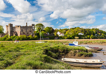 Laugharne Castle Wales - Estuary of the River Tâf with...