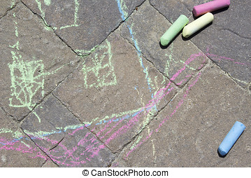 Chalk on Patio Pavers - Playing with chalk on cement pavers