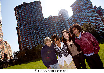 Apartment People - A group of people in front of an...