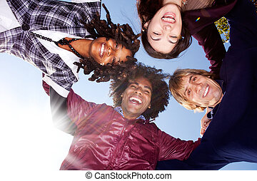 Happy Friend Group - A happy group hug of friends - with...