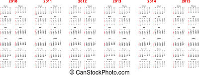 calendar for 2010 through 2015