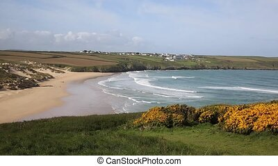 Crantock bay and beach North Cornwall - Crantock bay and...