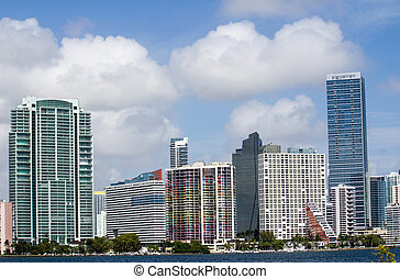 Cloudy Sky over Miami Skyscrapers, Florida