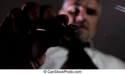 addict man snorting cocaine heroine - elegant man snorting...