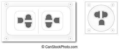white plug on white wall vector