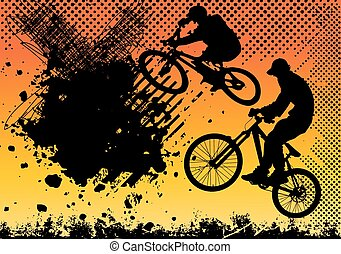 extreme bicycle jumping with grunge